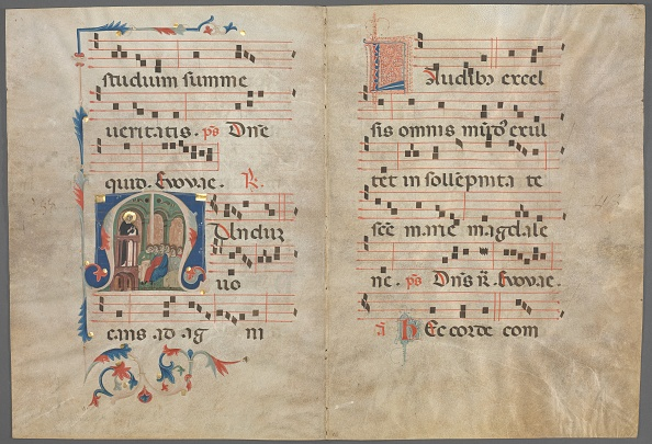 Tempera Painting「Bifolium From An Antiphonary: Initial M With Saint Dominic Preaching」:写真・画像(12)[壁紙.com]