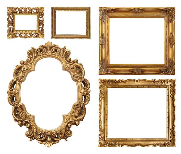 Set of five gold frame designs:スマホ壁紙(壁紙.com)