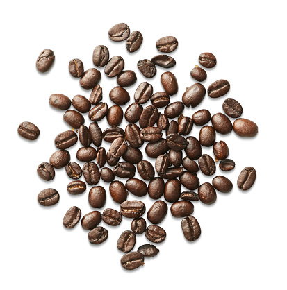Coffee - Drink「Overhead coffee beans spilled on white surface」:スマホ壁紙(0)