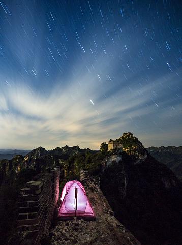 star sky「キャンプに中国の万里の長城」:スマホ壁紙(0)