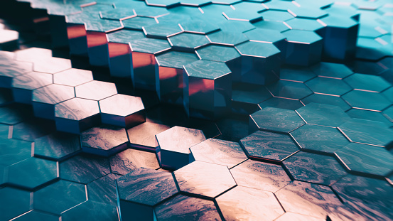 Data Center「Abstract Technical 3D hexagonal background pattern」:スマホ壁紙(1)