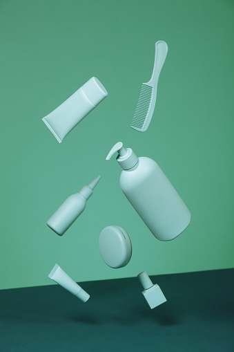 Girly「Cosmetic products in monochrome green color」:スマホ壁紙(3)