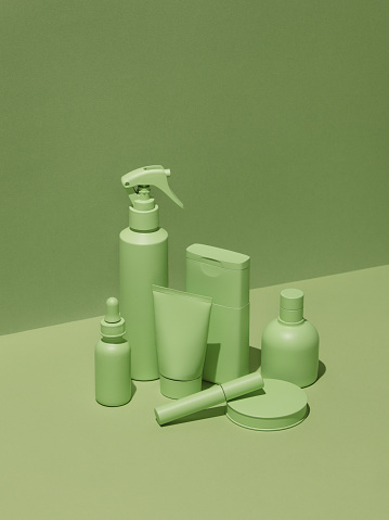 Green Background「Cosmetic products in monochrome green color」:スマホ壁紙(18)