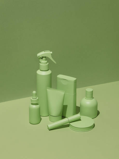 Cosmetic products in monochrome green color:スマホ壁紙(壁紙.com)