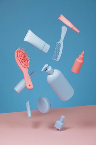 美しさ「青とピンクの化粧品」:スマホ壁紙(9)