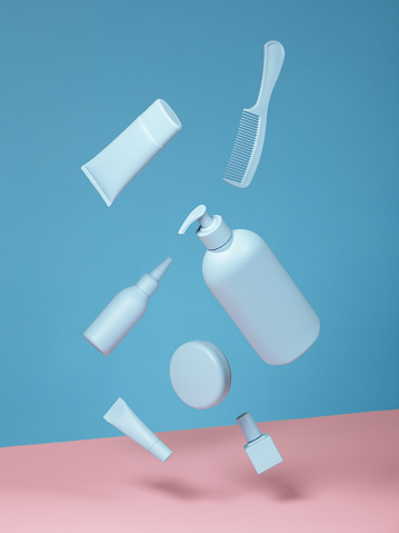 Blue Background「Cosmetic products in blue color on blue and pink background」:スマホ壁紙(4)