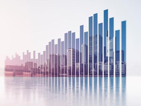 Multiple Exposure「Bar graph and urban skyline」:スマホ壁紙(8)