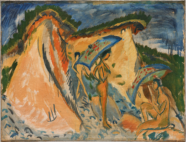 Painted Image「Fehmarn Dunes With Bathers Under Japanese Umbrellas」:写真・画像(8)[壁紙.com]