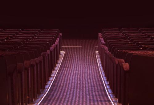 Auditorium「Cinema seats and isleway on black」:スマホ壁紙(18)
