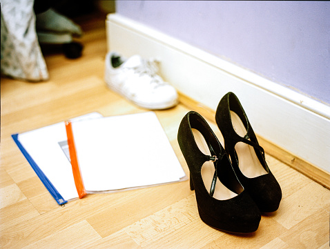 Teenager「platform shoes, trainers and homework on the floor of teenage girl's bedroom」:スマホ壁紙(10)