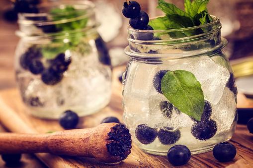 Mint Leaf - Culinary「Blueberry Mojito as Fresh Summer Drink」:スマホ壁紙(5)
