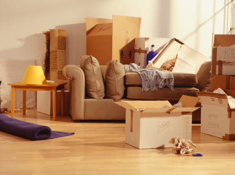 Unpacking「Unpacked moving boxes in Living Room」:スマホ壁紙(15)