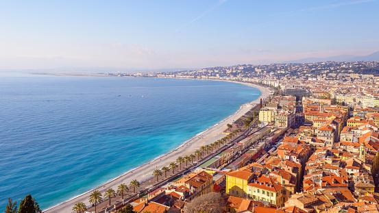 France「Nice City Promenade Beach and Mediterranean Sea France」:スマホ壁紙(1)