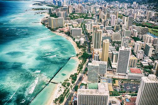 Oahu「Waikiki Aerial View」:スマホ壁紙(19)