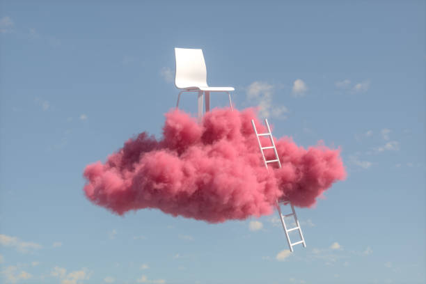 Chair on Cloud, Stairs to the clouds, Ladder of Success Concept:スマホ壁紙(壁紙.com)