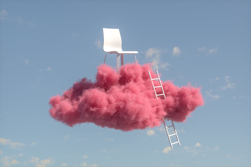 Teamwork「Chair on Cloud, Stairs to the clouds, Ladder of Success Concept」:スマホ壁紙(1)