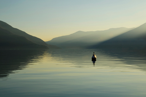 Buoy「A buoy floats in tranquil lake water with a silhouette of the swiss alps at dawn; Ascona, Ticino, Switzerland」:スマホ壁紙(3)