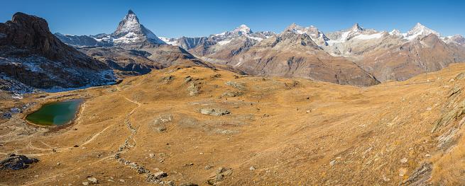 スノーボード「夏から Gornergratt、ツェルマットとマッターホルン山のパノラマ」:スマホ壁紙(7)