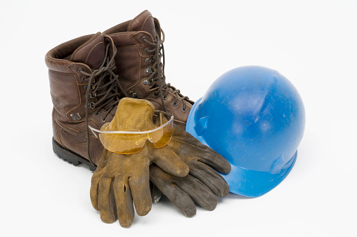 Protective Glove「Workman's leather boots,gloves,hard hat,safety glasses-isolated on white」:スマホ壁紙(4)