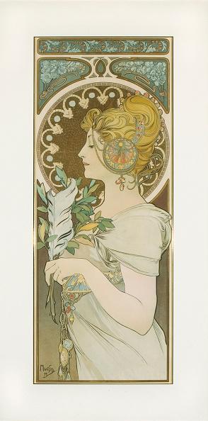 La Plume. Artist: Mucha, Alfons Marie (1860-1939):ニュース(壁紙.com)