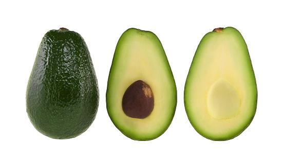 Avocado「A whole and halved avocado on white」:スマホ壁紙(12)