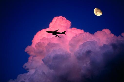 Cumulus Cloud「Boeing 747-400 and Moon」:スマホ壁紙(11)