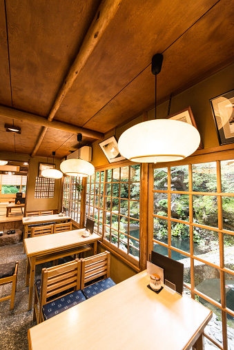 Making a Reservation「Traditional Japanese Restaurant Interior with Dining Tables and Garden View in Kyoto Japan」:スマホ壁紙(19)