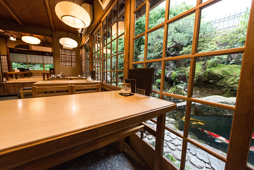 Making a Reservation「Traditional Japanese Restaurant Interior with Dining Tables and Garden View in Kyoto Japan」:スマホ壁紙(9)
