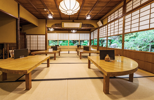 Making a Reservation「Traditional Japanese Restaurant Interior with Dining Tables and Garden View in Kyoto Japan」:スマホ壁紙(12)