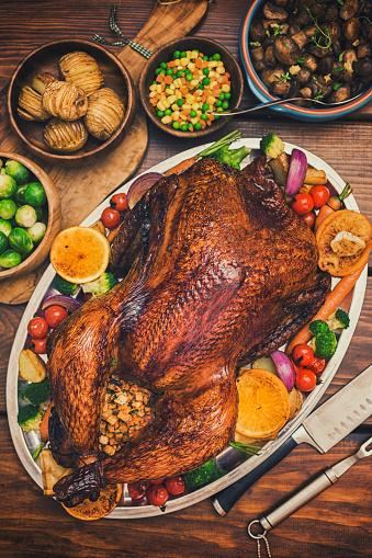 Turkey - Bird「Traditional Stuffed Turkey Dinner with Side Dishes for Thanksgiving Celebration」:スマホ壁紙(7)