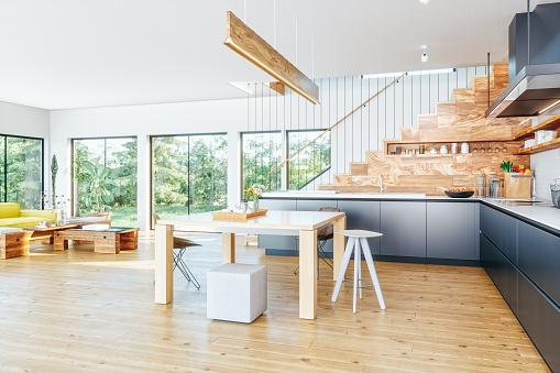 Domestic Kitchen「Open Plan Modern Kitchen And Living Room」:スマホ壁紙(9)