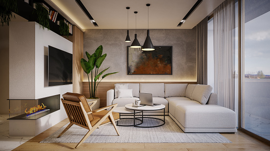 Drawing - Art Product「Computer generated image of living room. Architectural Visualization. 3D rendering.」:スマホ壁紙(16)