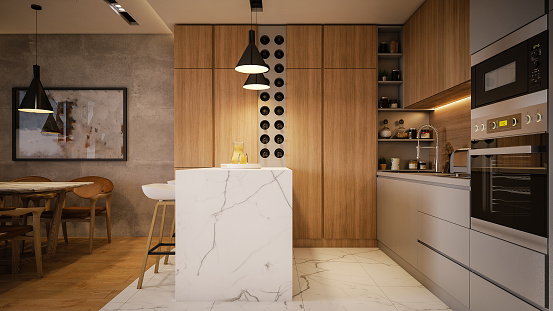 Domestic Kitchen「Computer generated image of kitchen and living room. Architectural Visualization. 3D rendering.」:スマホ壁紙(6)