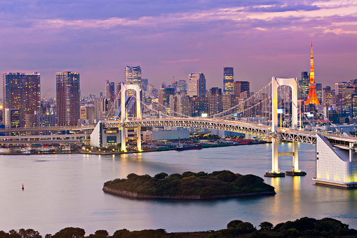 Tokyo Tower「Rainbow  Bridge at dusk」:スマホ壁紙(5)