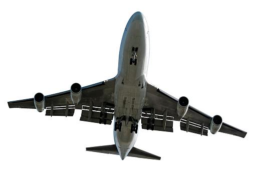 Approaching「XL jumbo jet airplane landing on white background」:スマホ壁紙(1)