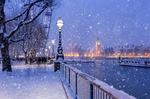 Twilight「Snowing on Jubilee Gardens in London at dusk」:スマホ壁紙(2)