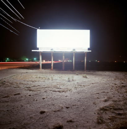 Roadside「Blank billboard lit up at night」:スマホ壁紙(2)