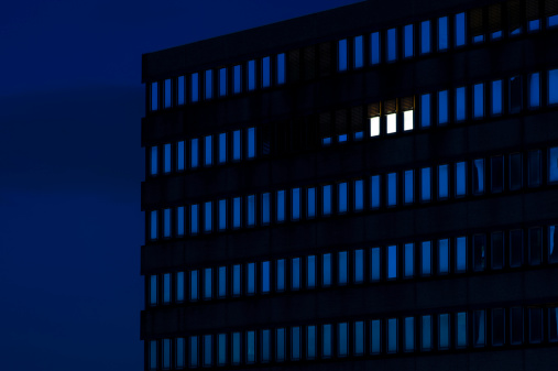Standing Out From The Crowd「Germany, Dusseldorf, Lighted windows in office building」:スマホ壁紙(11)