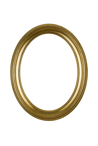 Moulding - Trim「Picture Frame Gold Oval Round, White Isolated Studio Shot」:スマホ壁紙(17)