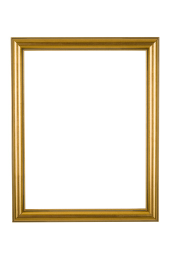 Moulding - Trim「Picture Frame in Narrow Shiny Gold, Isolated」:スマホ壁紙(8)