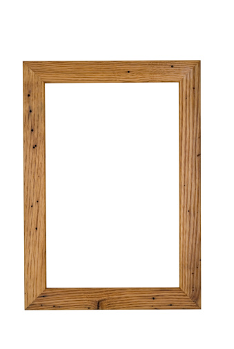 Moulding - Trim「Picture Frame Grained Wood, Handmade Wormy Chestnut, White Isolated」:スマホ壁紙(7)