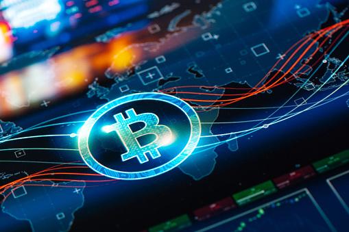 Internet of Things「Bitcoin network concept on digital Screen」:スマホ壁紙(14)