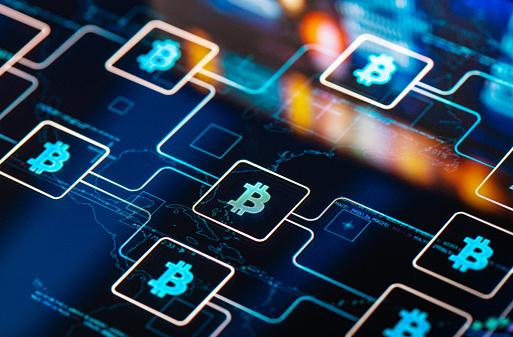 Graphical User Interface「Bitcoin network concept on digital Screen」:スマホ壁紙(15)