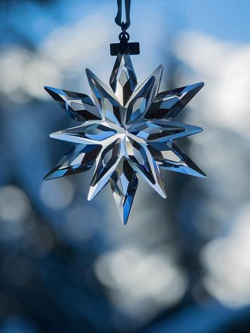 クリスタル山「Glass snowflake ornament in window」:スマホ壁紙(7)