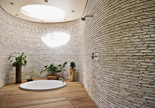 South Africa「Sunken tub in modern bathroom」:スマホ壁紙(7)