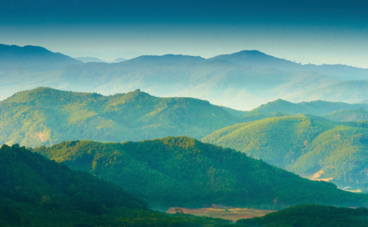 Aerial View「Beautiful sunrise at misty morning mountains .」:スマホ壁紙(0)
