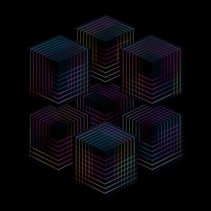 Quantum Computing「Glowing cubes」:スマホ壁紙(18)