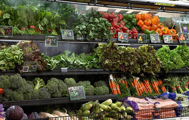 Produce aisle in supermarket, close-up:スマホ壁紙(壁紙.com)