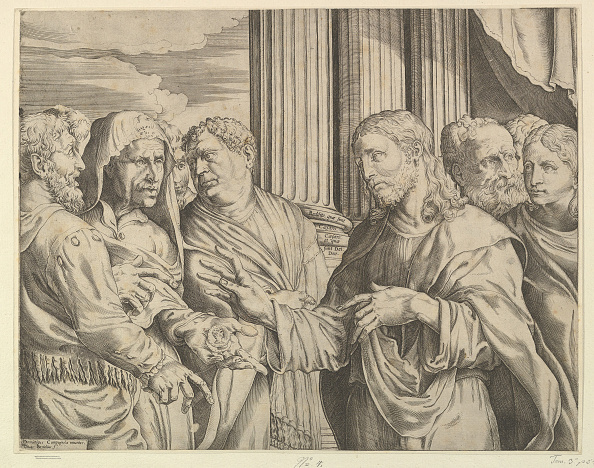Etching「The Triubute Money: Christ At Center Right Gesturing To Man At His Left With Coins」:写真・画像(16)[壁紙.com]