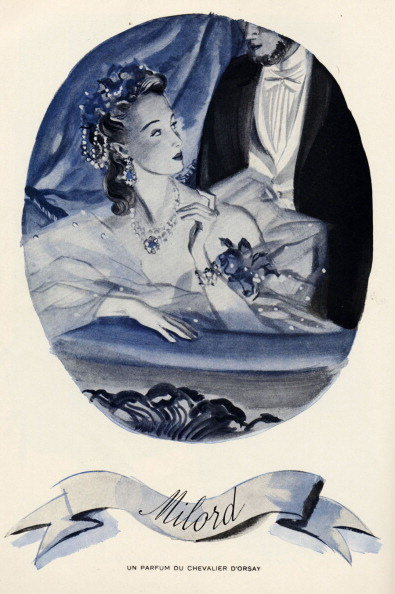 1900「Advertisement for perfume by brand Chevalier d'Orsay caleed 'Milord' showing woman iwearing evening gown leaning on edge of opera box, with cropped figure of man in background.  Romantic.」:写真・画像(2)[壁紙.com]